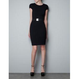 Black Dress with Pleated Sleeve