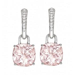 Morganite and Diamond Cushion Drop Earrings
