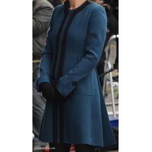 Trimmed Blue Flare Coat