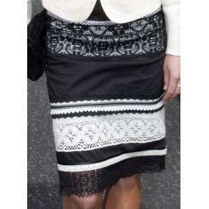 Black & White Lace Pencil Skirt