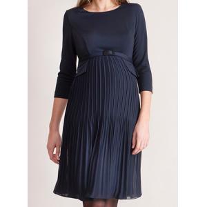 """""""Sophia"""" Navy Pleated Maternity Dress"""