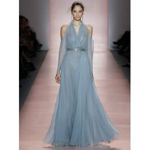 Diaphanous Blue Evening Gown