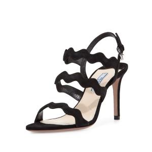 Suede Wavy Sandals