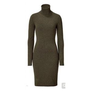 Olive Turtleneck Sweater Dress
