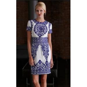 Blue-Stitched Taj Mahal Dress