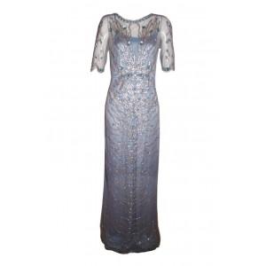 Blue Embellished Evening Gown