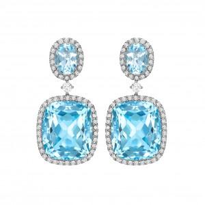 Blue Topaz & Diamond Drops